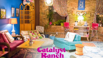 A Catalyst Ranch Zoom virtual background photo of the ChaCha Room, with the magenta logo at the bottom.