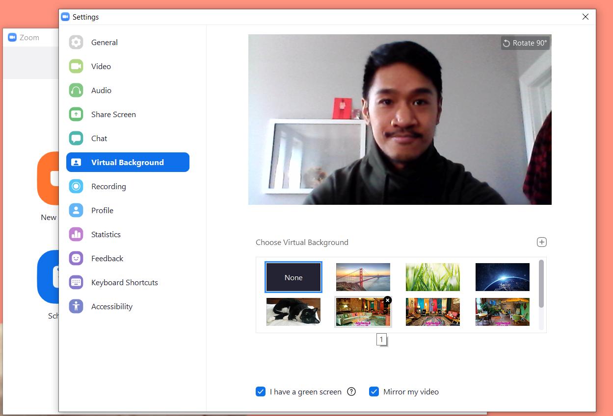 Zoom's Virtual Background Menu